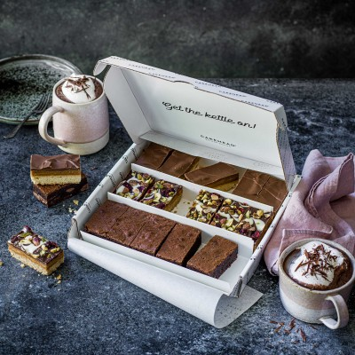 image of the indulgent cake selection box delivery including chocolate brownies and caramel shortbread